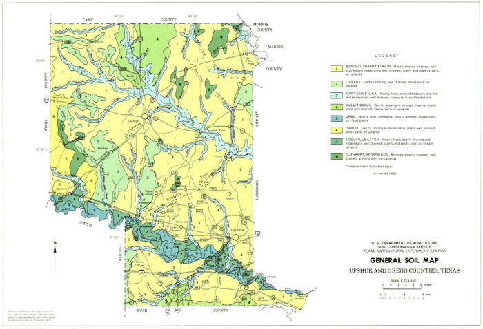 Map Of Counties In Texas.General Soil Map Upshur And Gregg Counties Texas The Portal To