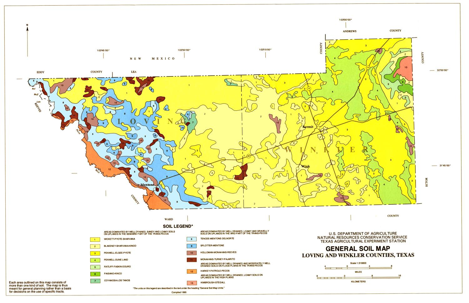General Soil Map Loving And Winkler Counties Texas The Portal - Counties of texas map