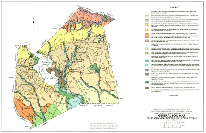 Map Of The Counties In Texas.General Soil Map Polk And San Jacinto Counties Texas The Portal