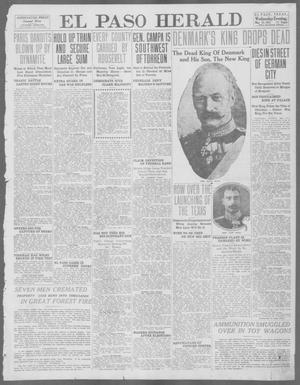 Primary view of object titled 'El Paso Herald (El Paso, Tex.), Ed. 1, Wednesday, May 15, 1912'.