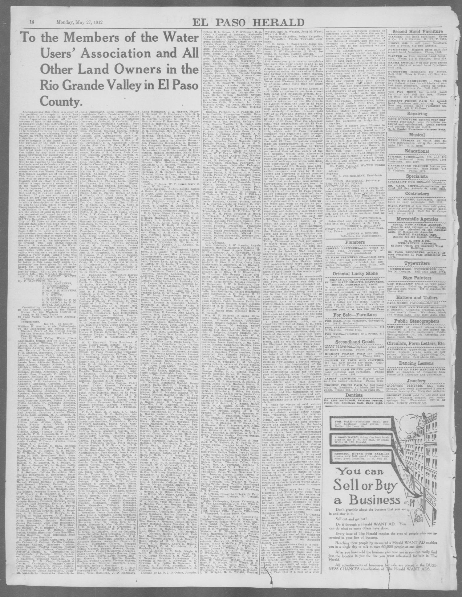 El Paso Herald El Paso Tex Ed 1 Monday May 27 1912 Page