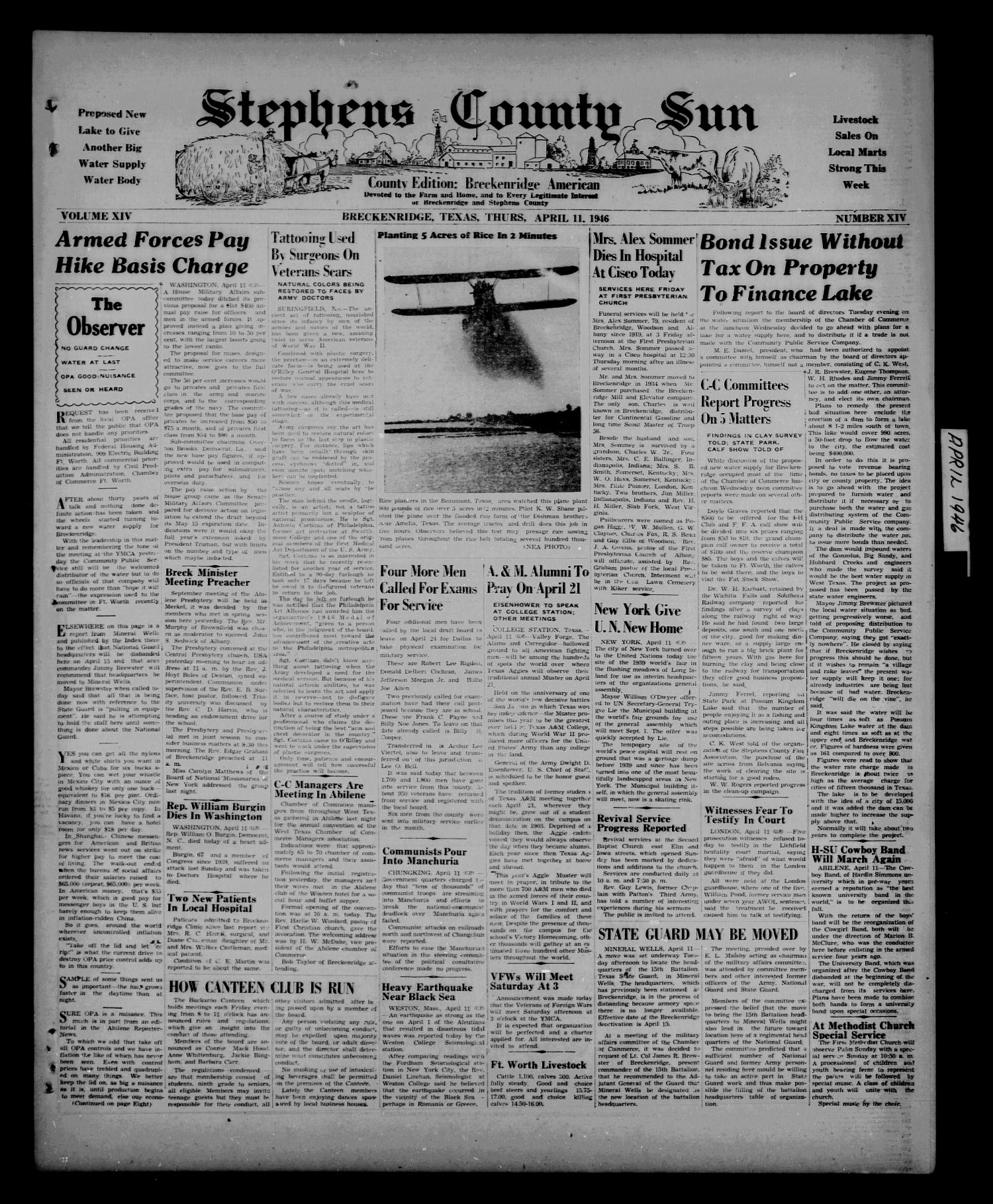 Stephens County Sun (Breckenridge, Tex.), Vol. 14, No. 15, Ed. 1 Thursday, April 11, 1946                                                                                                      [Sequence #]: 1 of 8
