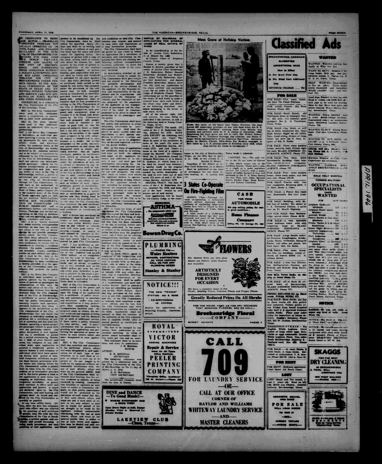 Stephens County Sun (Breckenridge, Tex.), Vol. 14, No. 15, Ed. 1 Thursday, April 11, 1946                                                                                                      [Sequence #]: 7 of 8