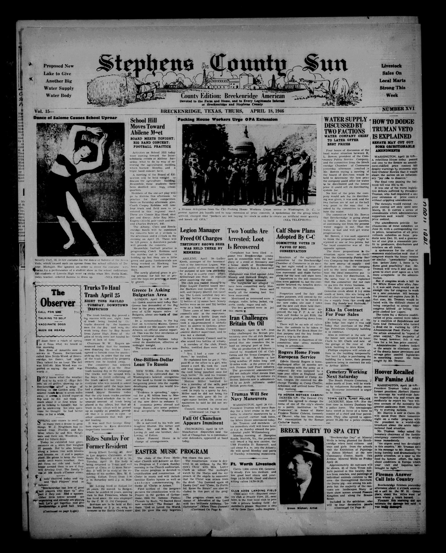 Stephens County Sun (Breckenridge, Tex.), Vol. 14, No. 16, Ed. 1 Thursday, April 18, 1946                                                                                                      [Sequence #]: 1 of 8