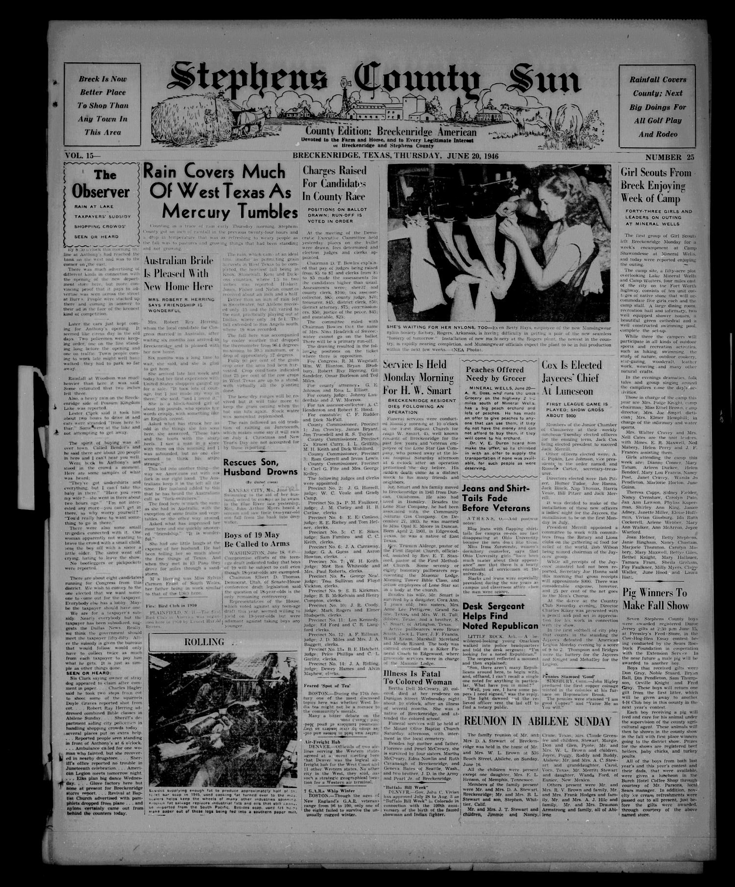 Stephens County Sun (Breckenridge, Tex.), Vol. 15, No. 25, Ed. 1 Thursday, June 20, 1946                                                                                                      [Sequence #]: 1 of 6