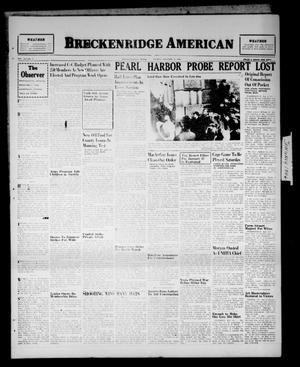 Primary view of object titled 'Breckenridge American (Breckenridge, Tex.), Vol. 26, No. 4, Ed. 1 Friday, January 4, 1946'.
