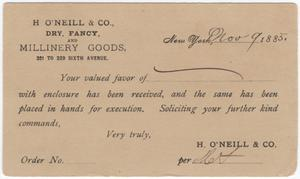 Primary view of object titled '[Card dated 1885 acknowledging receipt of an order]'.