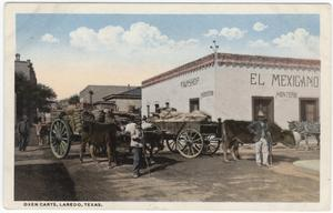 Primary view of object titled '[Oxen Carts, Laredo, Texas]'.