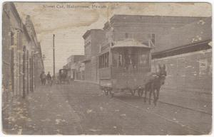 Primary view of object titled '[Street car, Matamoros, Mexico]'.