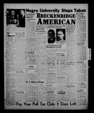 Primary view of object titled 'Breckenridge American (Breckenridge, Tex.), Vol. 27, No. 25, Ed. 1 Thursday, January 30, 1947'.