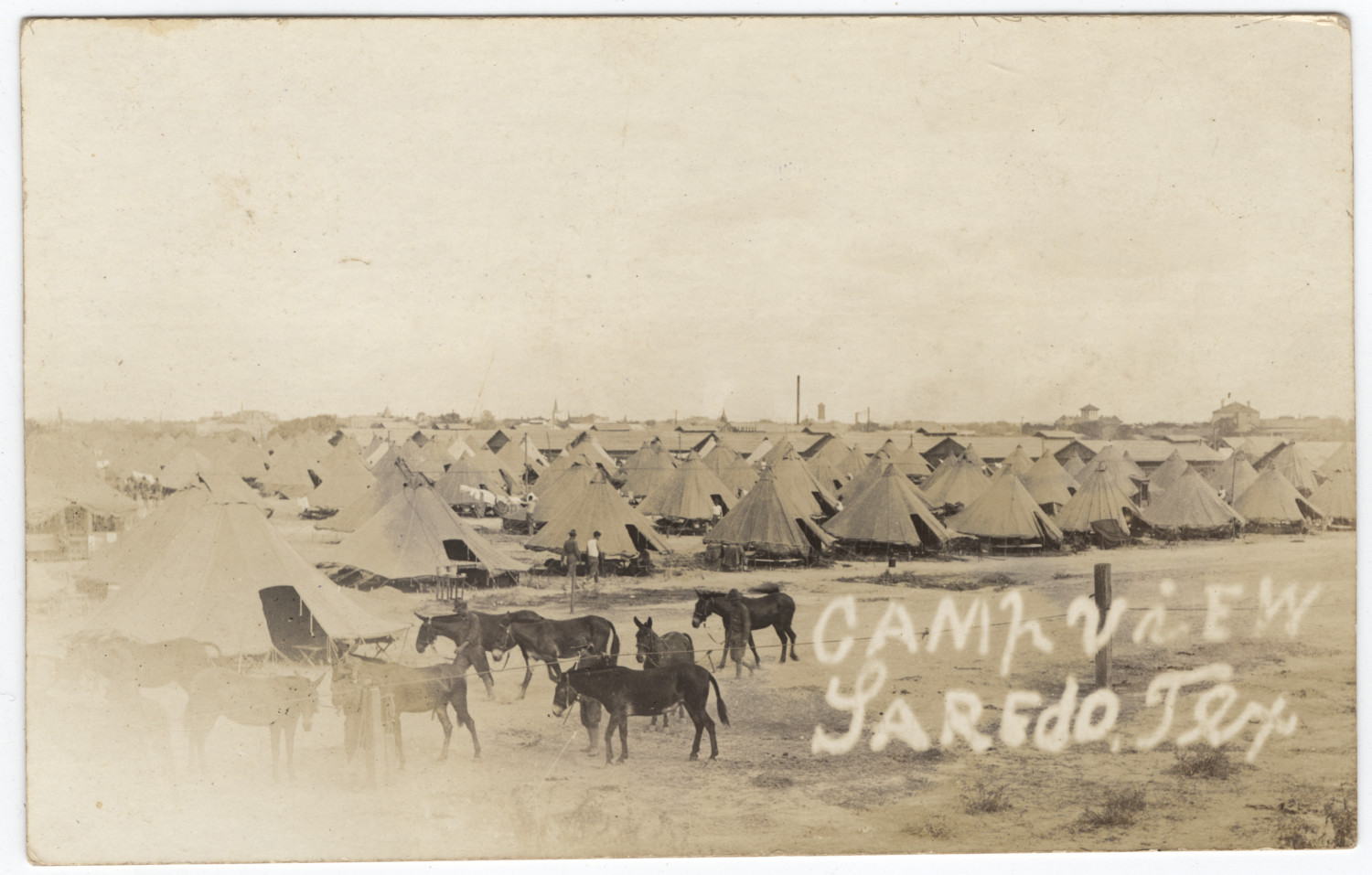 army tents and mules at fort mcintosh  laredo  texas