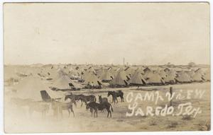 Primary view of object titled '[Army tents and mules at Fort McIntosh, Laredo, Texas]'.