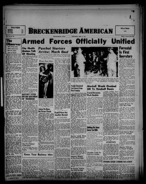 Primary view of object titled 'Breckenridge American (Breckenridge, Tex.), Vol. 27, No. 210, Ed. 1 Wednesday, September 17, 1947'.