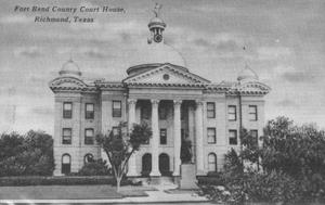 Primary view of object titled '[Postcard image of the Fort Bend Courthouse, Richmond, Texas]'.
