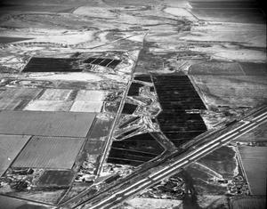 Primary view of object titled '[Aerial Photograph of Feed Yards in Winter]'.