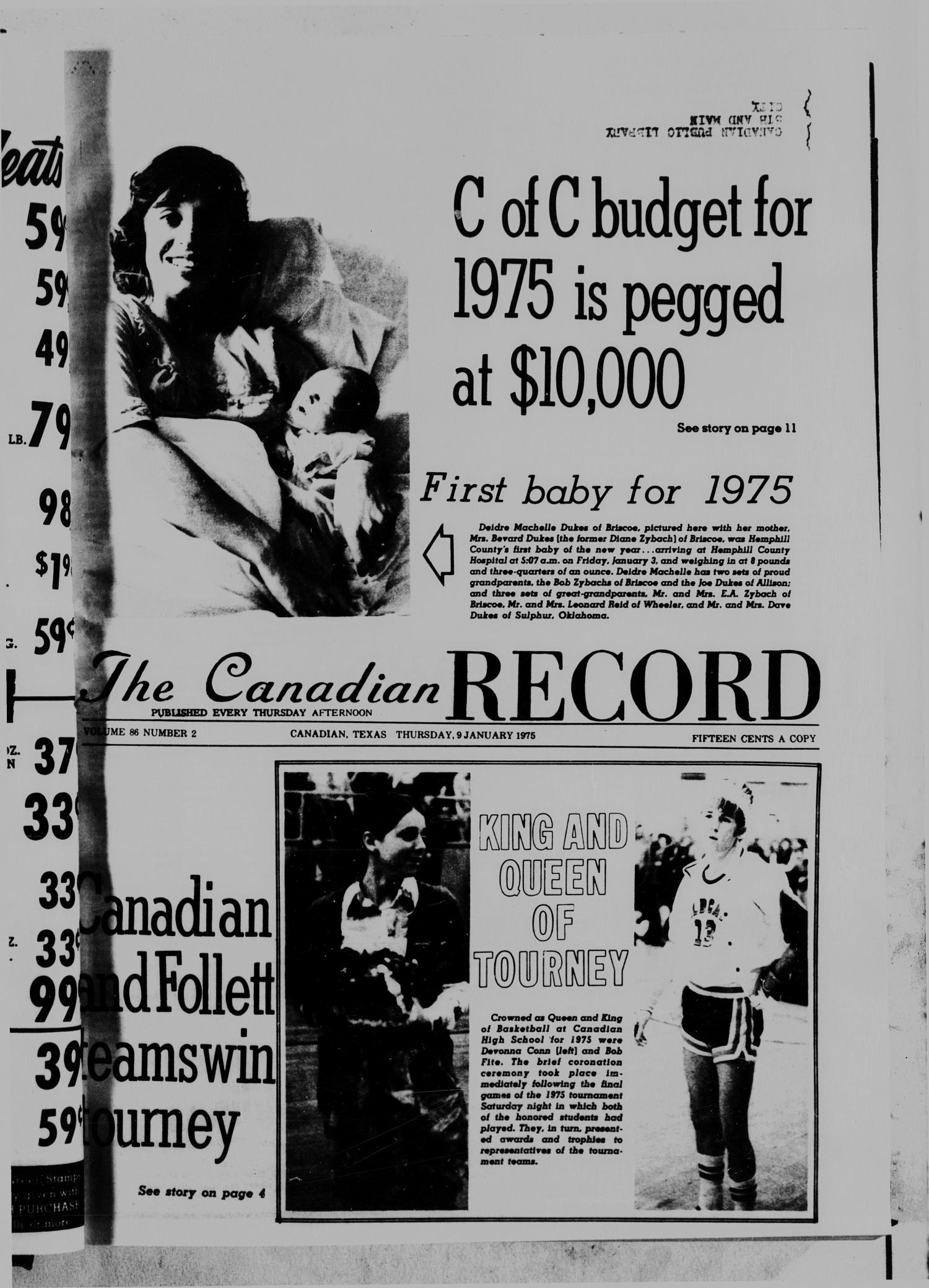 The Canadian Record (Canadian, Tex.), Vol. 86, No. 2, Ed. 1 Thursday, January 9, 1975                                                                                                      [Sequence #]: 1 of 20