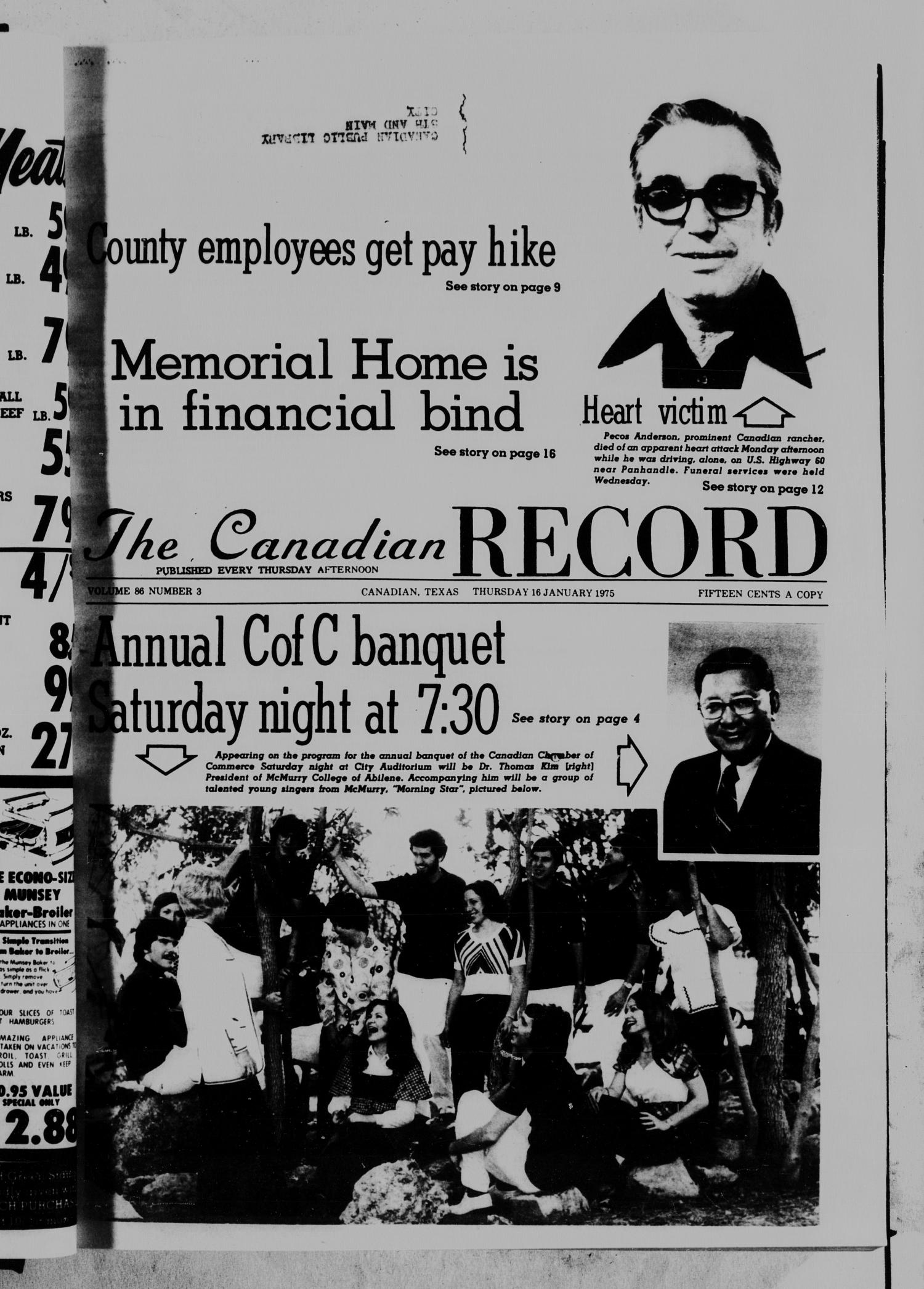 The Canadian Record (Canadian, Tex.), Vol. 86, No. 3, Ed. 1 Thursday, January 16, 1975                                                                                                      [Sequence #]: 1 of 17