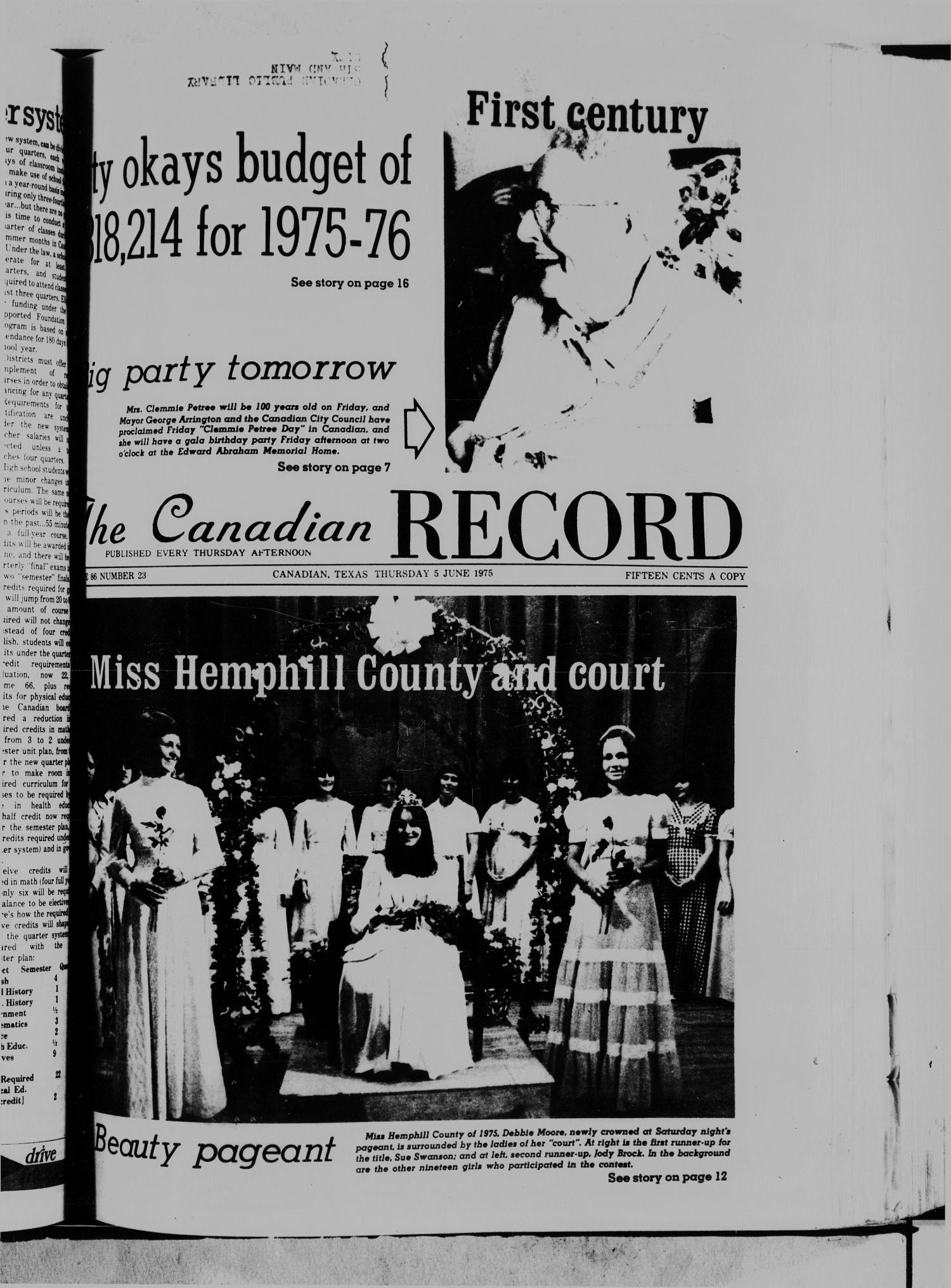 The Canadian Record (Canadian, Tex.), Vol. 86, No. 23, Ed. 1 Thursday, June 5, 1975                                                                                                      [Sequence #]: 1 of 21