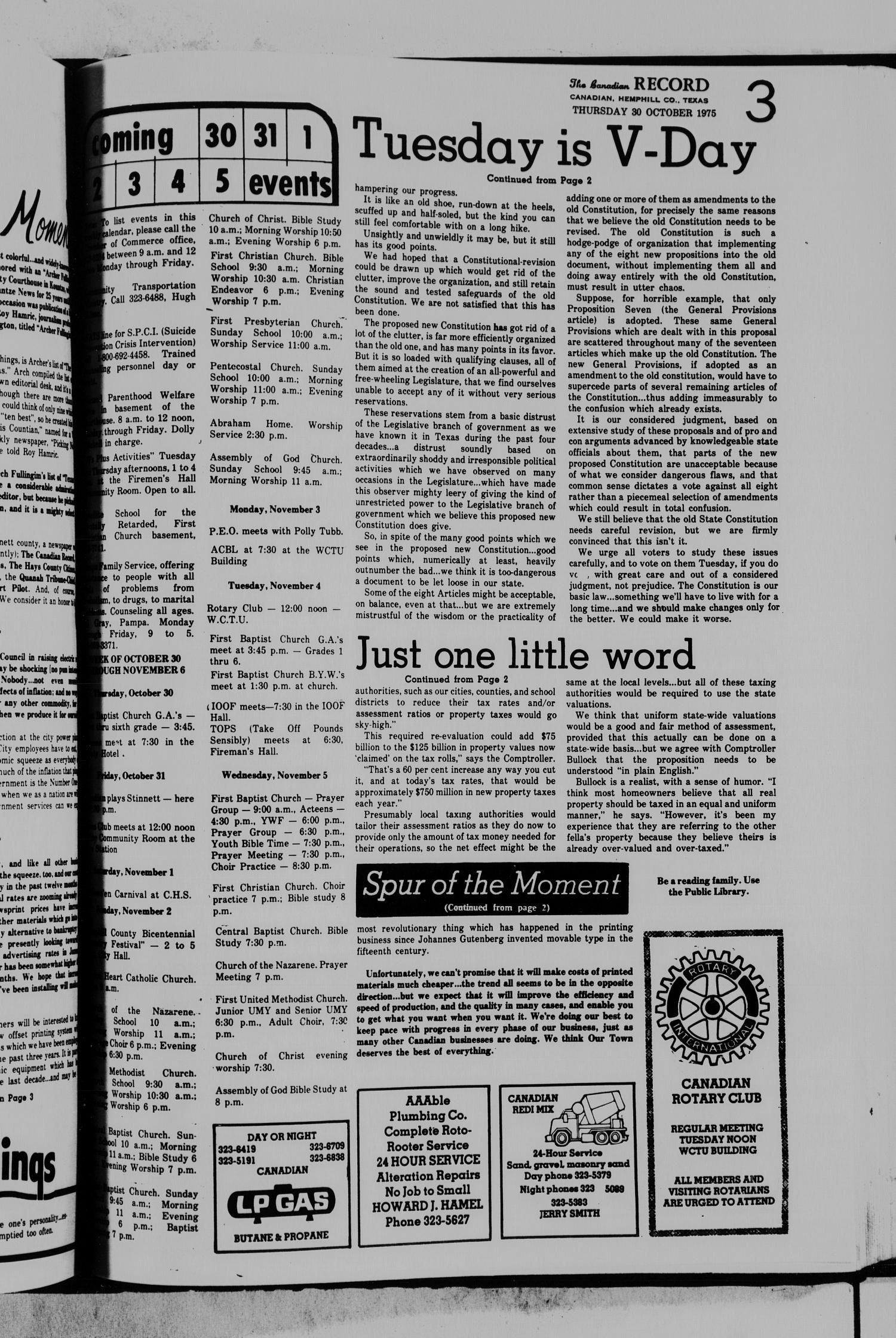 The Canadian Record (Canadian, Tex.), Vol. 86, No. 44, Ed. 1 Thursday, October 30, 1975                                                                                                      [Sequence #]: 3 of 15