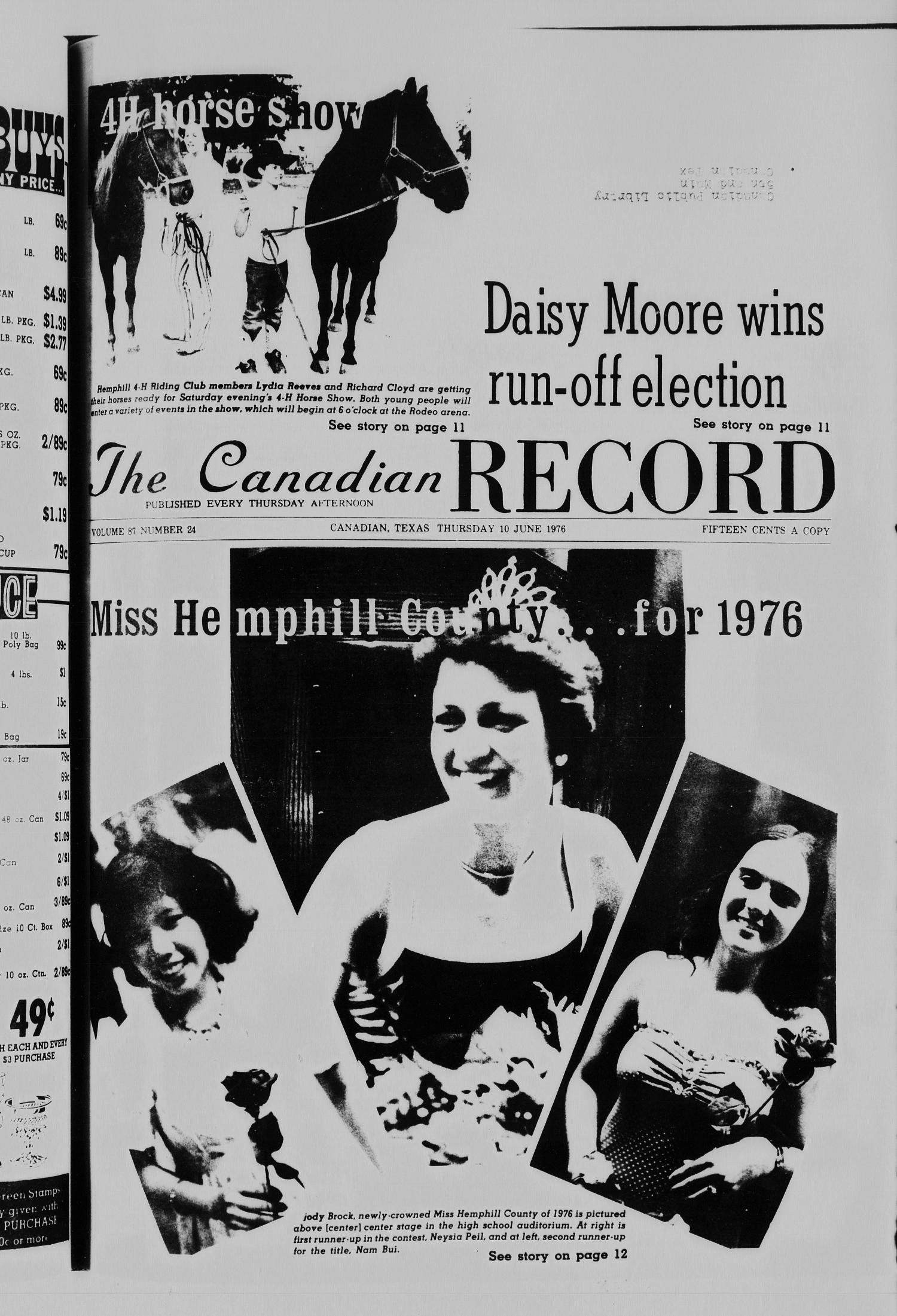 The Canadian Record (Canadian, Tex.), Vol. 87, No. 24, Ed. 1 Thursday, June 10, 1976                                                                                                      [Sequence #]: 1 of 22