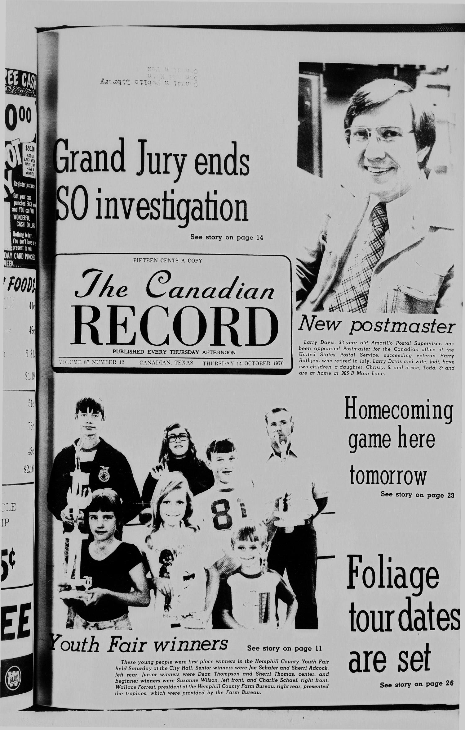 The Canadian Record (Canadian, Tex.), Vol. 87, No. 42, Ed. 1 Thursday, October 14, 1976                                                                                                      [Sequence #]: 1 of 31