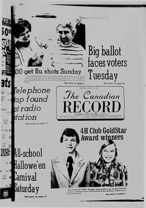 Primary view of object titled 'The Canadian Record (Canadian, Tex.), Vol. 87, No. 44, Ed. 1 Thursday, October 28, 1976'.