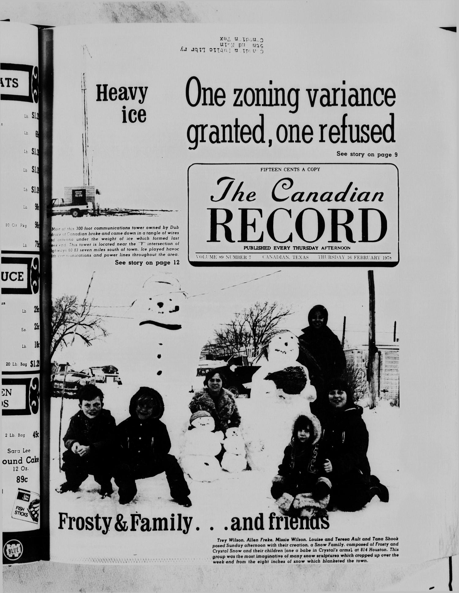 The Canadian Record (Canadian, Tex.), Vol. 89, No. 7, Ed. 1 Thursday, February 16, 1978                                                                                                      [Sequence #]: 1 of 24