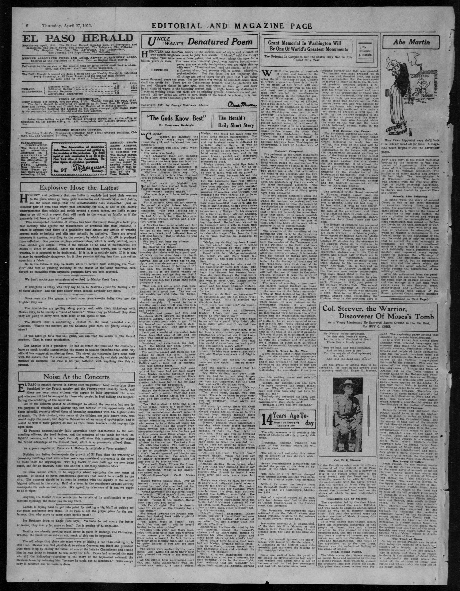 Sconto del 60% In liquidazione vasta gamma El Paso Herald (El Paso, Tex.), Ed. 1, Thursday, April 27 ...