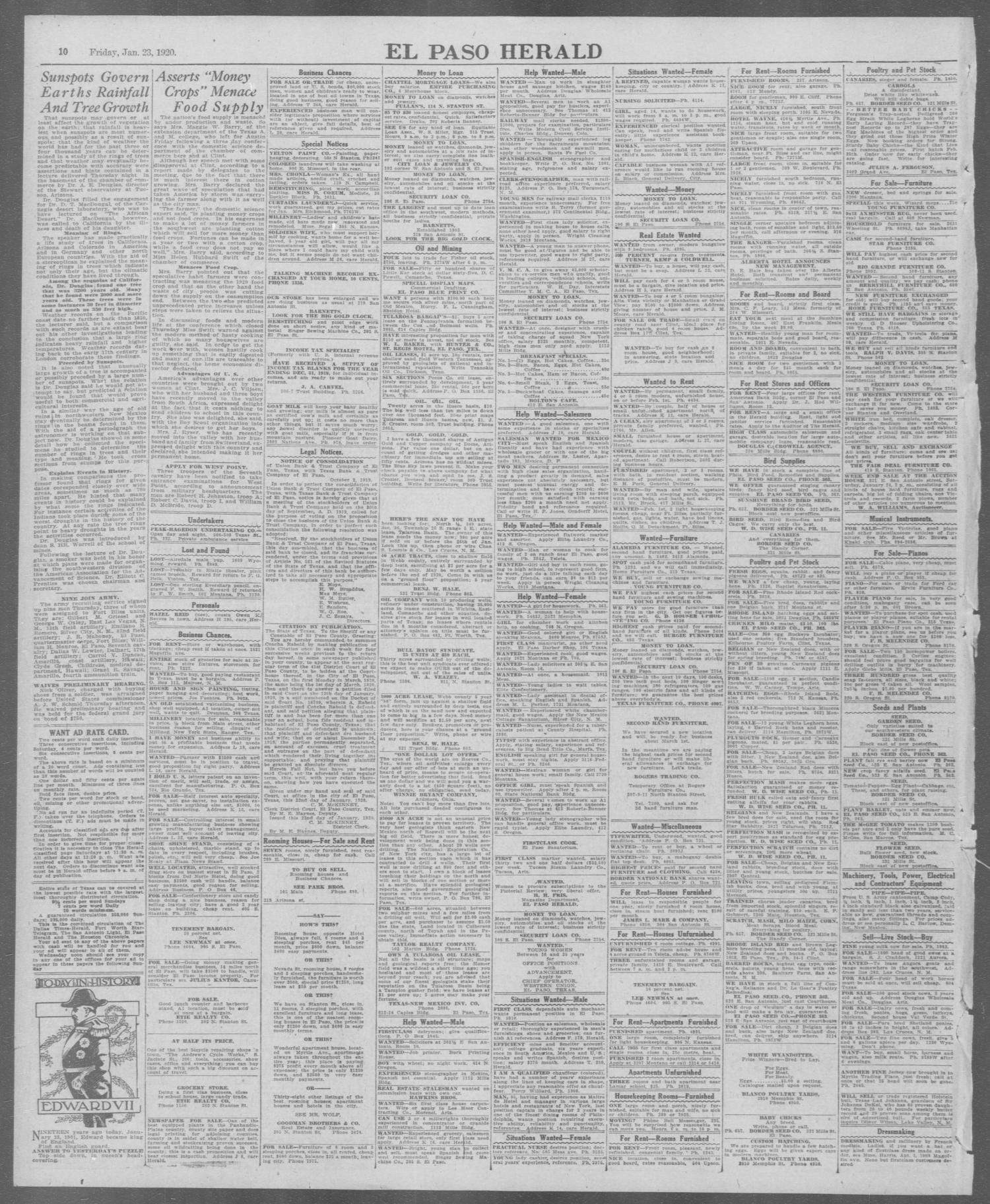 El Paso Herald El Paso Tex Ed 1 Friday January 23 1920 Page 10 of 12 The Portal to Texas History