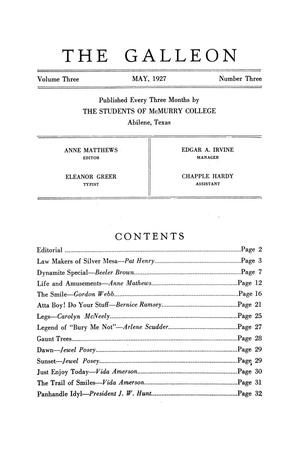 The Galleon, Volume 3, Number 3, May 1927