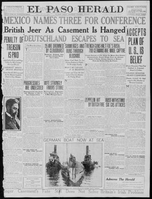 Primary view of object titled 'El Paso Herald (El Paso, Tex.), Ed. 1, Thursday, August 3, 1916'.