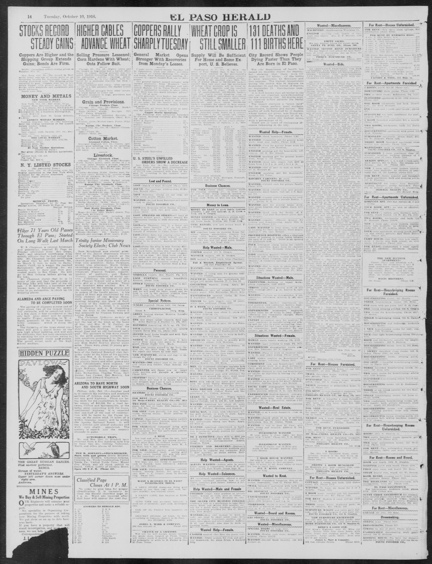 El Paso Herald (El Paso, Tex ), Ed  1, Tuesday, October 10, 1916