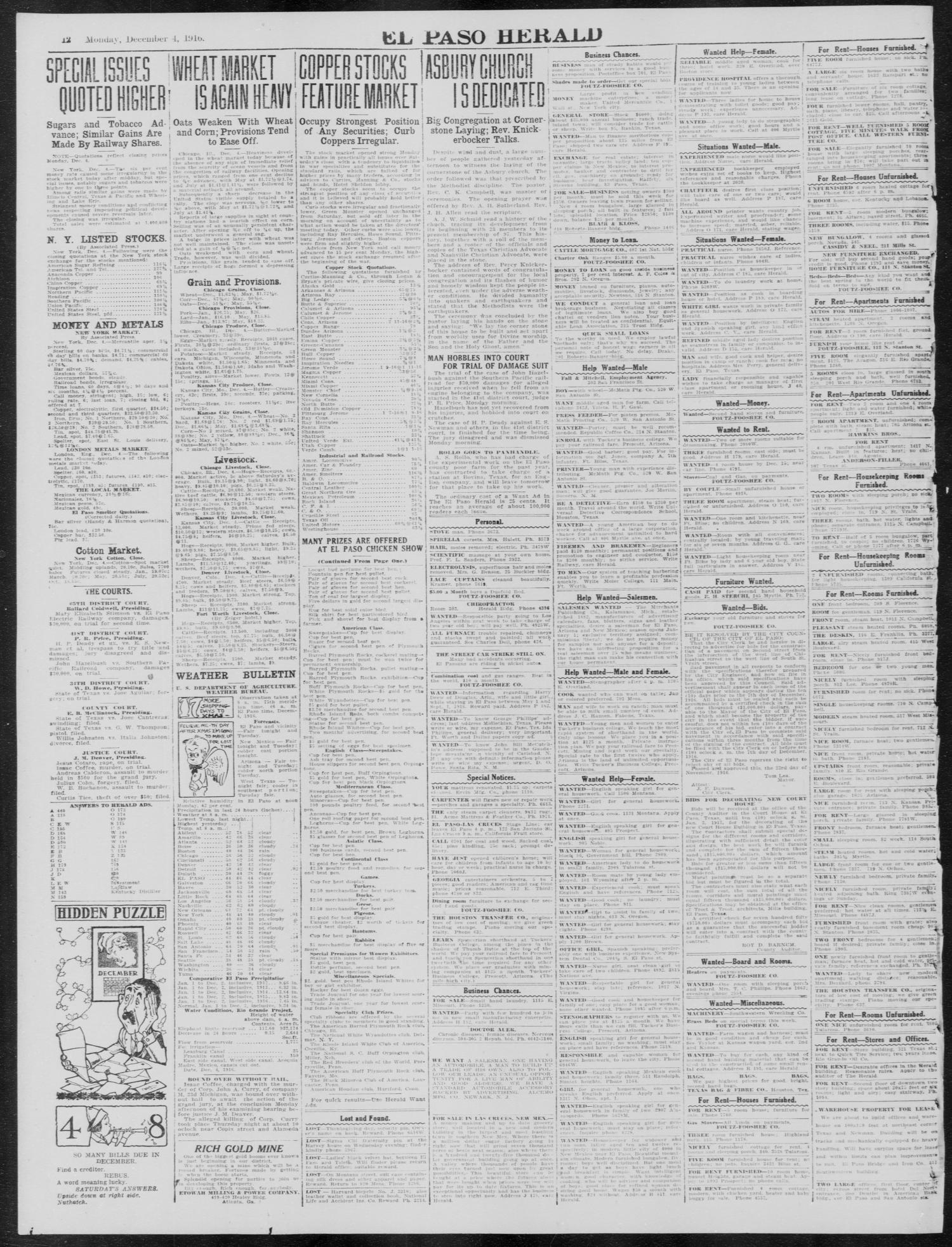 Pastoe Fibre Tv Kast.El Paso Herald El Paso Tex Ed 1 Monday December 4 1916