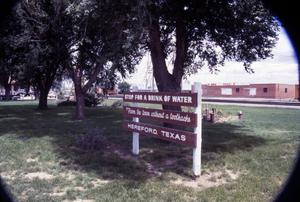 Primary view of object titled '[Sign at Santa Fe Park]'.