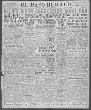 Primary view of object titled 'El Paso Herald (El Paso, Tex.), Ed. 1, Friday, January 24, 1919'.