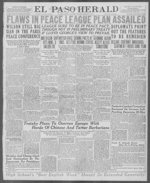 Primary view of object titled 'El Paso Herald (El Paso, Tex.), Ed. 1, Saturday, March 15, 1919'.