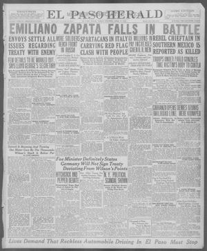 Primary view of object titled 'El Paso Herald (El Paso, Tex.), Ed. 1, Friday, April 11, 1919'.