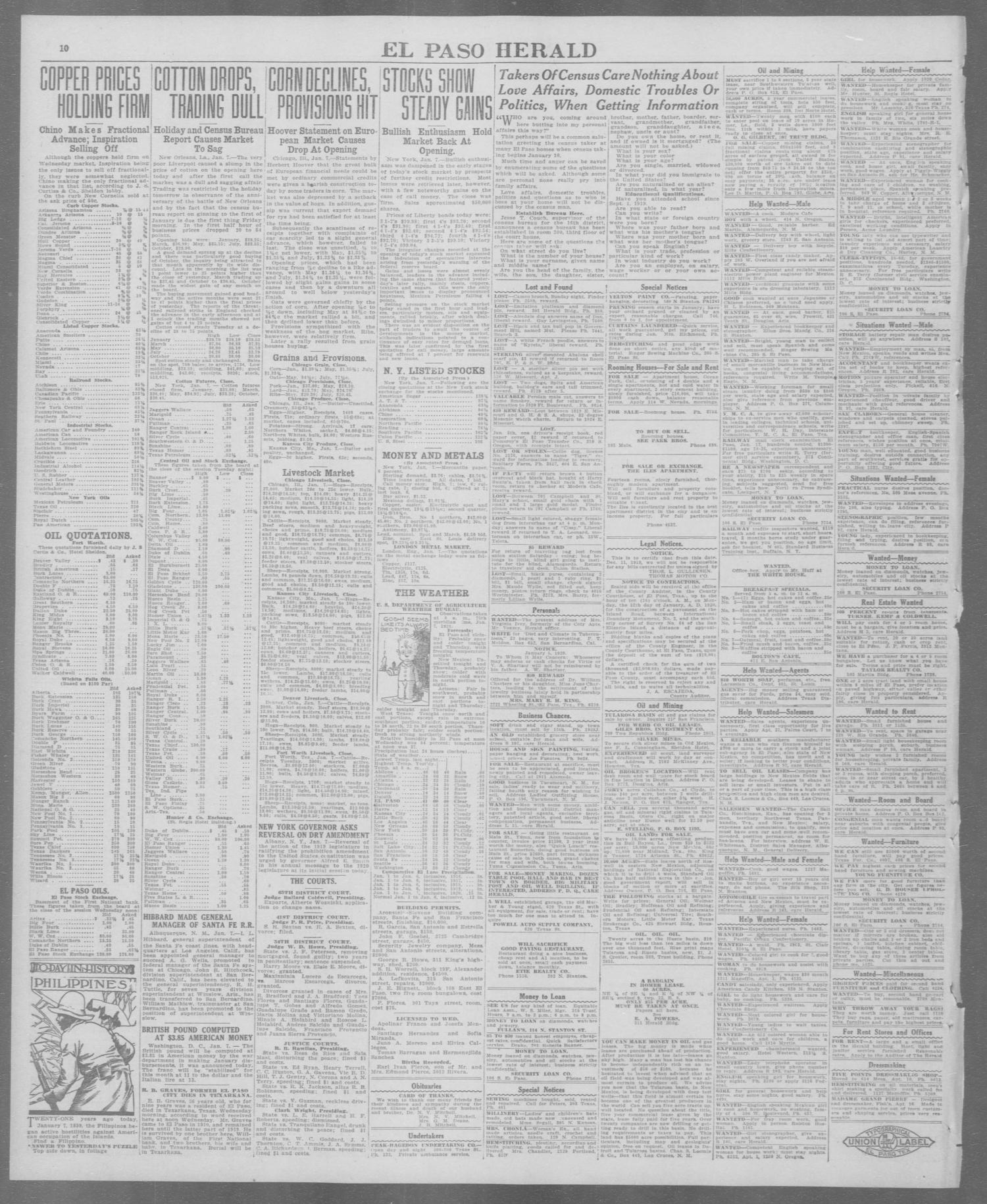 El Paso Herald (El Paso, Tex.), Ed. 1, Wednesday, January 7, 1920                                                                                                      [Sequence #]: 10 of 12