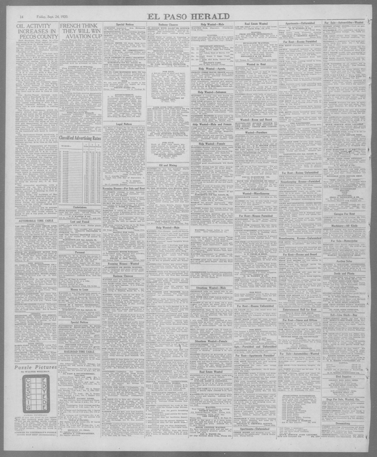 El Paso Herald El Paso Tex Ed 1 Friday September 24 1920
