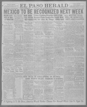 Primary view of object titled 'El Paso Herald (El Paso, Tex.), Ed. 1, Saturday, October 30, 1920'.