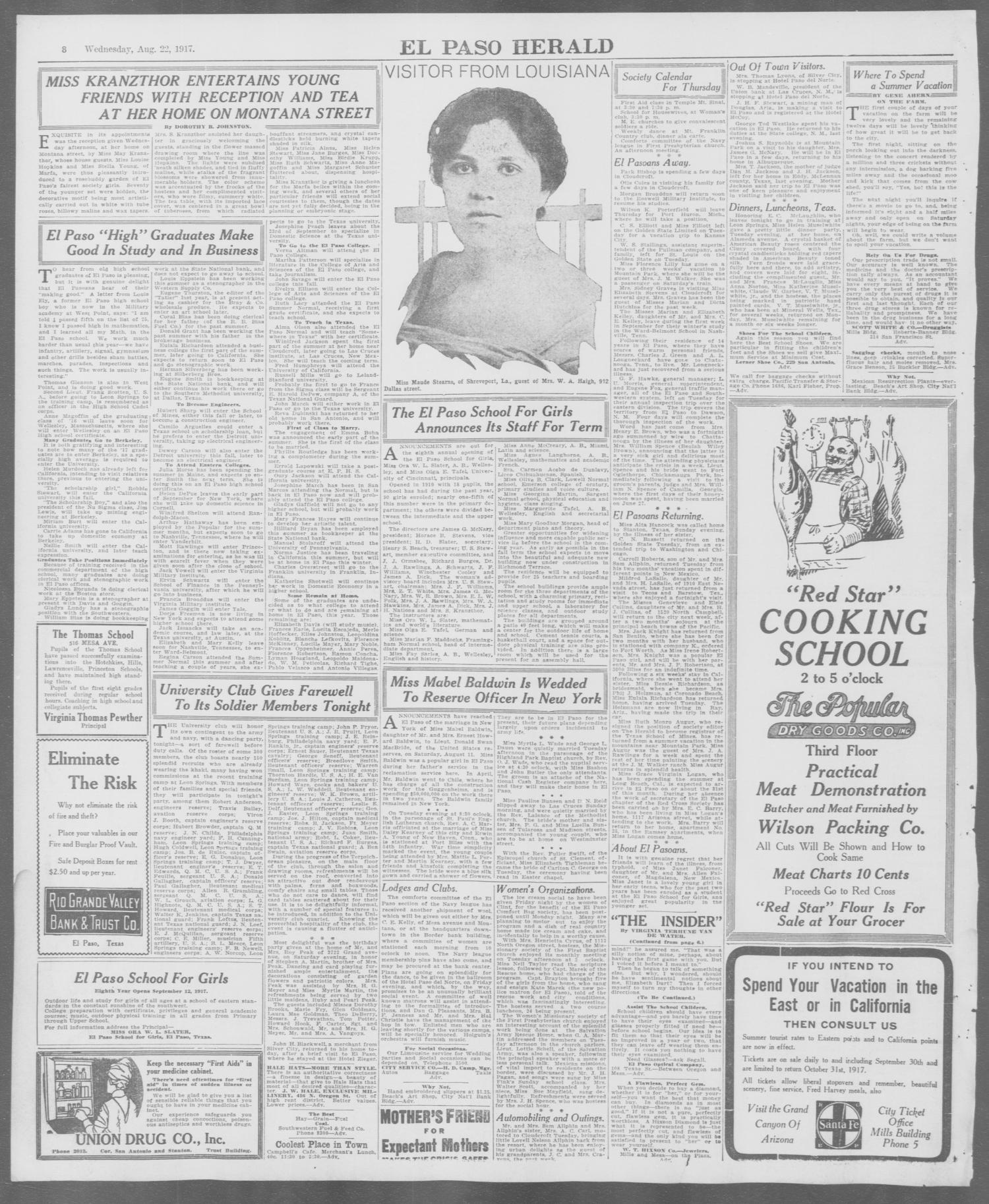 Vania Salon Tafel.El Paso Herald El Paso Tex Ed 1 Wednesday August 22 1917