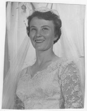 Primary view of object titled 'Judy Bell in wedding dress'.
