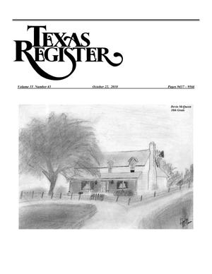 Primary view of object titled 'Texas Register, Volume 35, Number 43, Pages 9437-9566, October 22, 2010'.