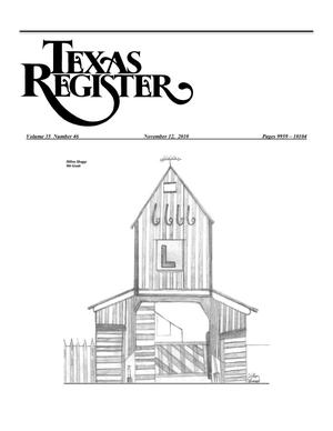 Primary view of object titled 'Texas Register, Volume 35, Number 46, Pages 9959-10104, November 12, 2010'.