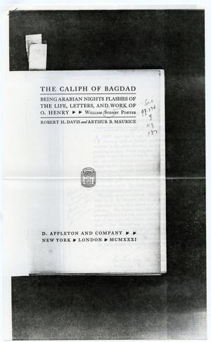 Primary view of object titled 'Excerpt pages from The Caliph of Baghdad'.