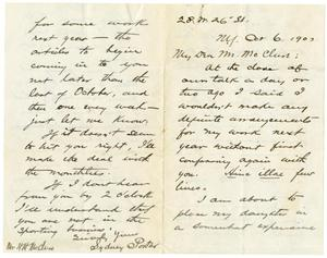 Primary view of object titled '[Handwritten letter from O. Henry to H. H. McClure]'.