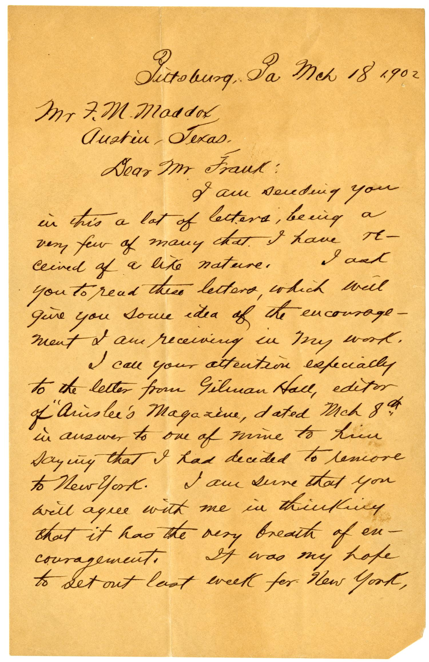 handwritten letter from o henry to fm maddox the portal to texas history