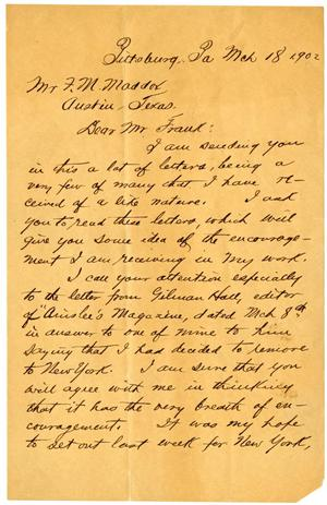 Primary view of object titled '[Handwritten letter from O. Henry to F.M. Maddox]'.