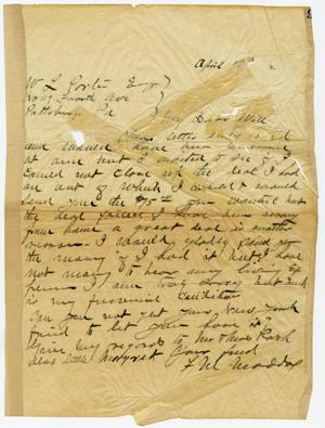 Primary view of object titled '[Handwritten letter from F.M. Maddox to O. Henry]'.