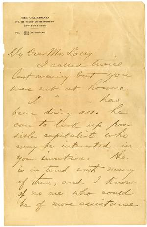 Primary view of object titled '[Handwritten letter from O. Henry to Mrs. Lacey]'.